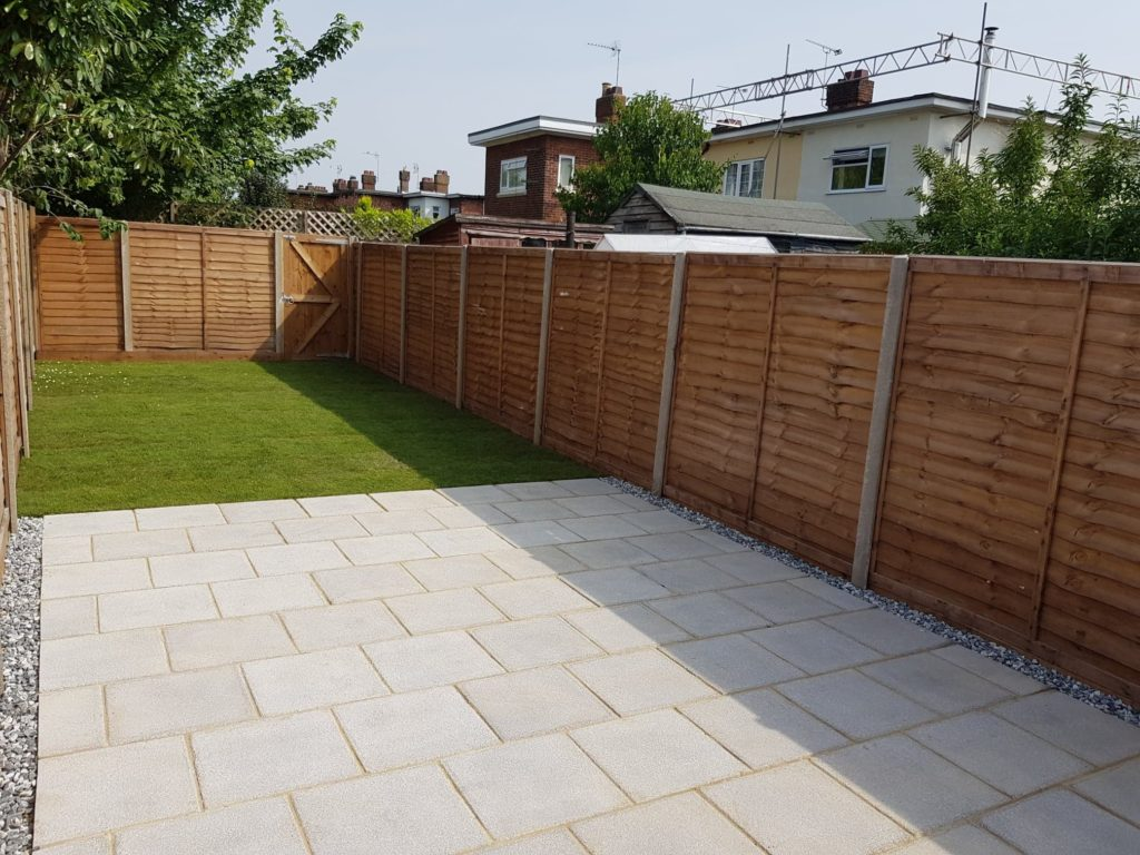 Lap Panel Fencing with Lap Panel Gate, Patio and turfed garden